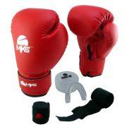 Kit Luva de Boxe MKS Vermelha + Bandagem + Protetor bucal