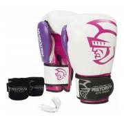 Kit Luva de Boxe/Muay Thai Pretorian Elite Branco/Rosa + Bandagem + Protetor bucal