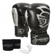 Kit Luva de Boxe/Muay Thai Pretorian Elite Preto + Bandagem + Protetor bucal