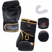 Kit Luva de Boxe Naja Black + Protetor Bucal + Bandagem - Preta/Dourada