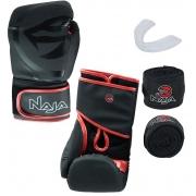 Kit Luva de Boxe Naja Black + Protetor Bucal + Bandagem - Preta/Vermelha