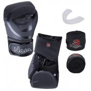 Kit Luva de Boxe Naja Black + Protetor Bucal + Bandagem - Preta