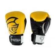 Kit Luva de Boxe/Muay Thai Pretorian Elite  Preto/ Amarelo + Bandagem + Protetor bucal