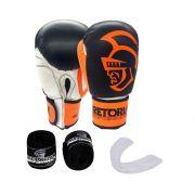 Kit Luva de Boxe/Muay Thai Pretorian Performance  Preto e Laranja + Bandagem + Protetor bucal