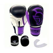 Kit Luva de Boxe Pretorian Performance Roxa  14ZO  + Bandagem + Protetor bucal