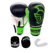 Kit Luva de Boxe/Muay Thai Pretorian Performance Verde e Preto   + Bandagem + Protetor bucal