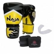Kit Luva Muay Thai Boxe Naja New Extreme Amarelo + Band + Bucal