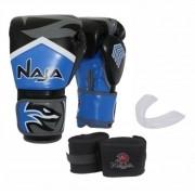 Kit Luva Muay Thai Boxe Naja New Extreme Azul Marinho + Band + Bucal