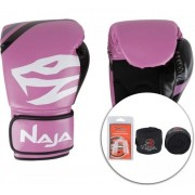 Kit Luva Muay Thai Boxe Naja New Extreme Rosa e Preto + Band + Bucal