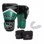 Kit Luva Muay Thai Boxe Naja New Extreme Verde + Band + Bucal