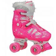 Patins  Roller Derby Princess Ajustável 32 Ao 36 - Rosa