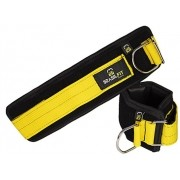 Puxador de Gluteo C/Velcron Brasil Fit - Preto/Amarelo