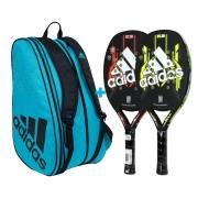 Combo 2x Raquete de Beach Tennis Adidas 2.0 + Raqueteira Azul