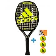Raquete de Beach Tennis Adidas Adipower 2.0 - Preta/Verde Limão + Brinde 3 Bolas