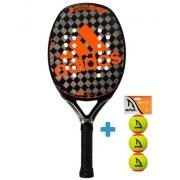 Raquete de Beach Tennis Adidas Adipower CTRL 2.0 - Preto/Laranja + Brinde 3 Bolas