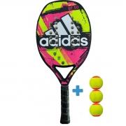 Raquete de Beach Tennis Adidas BT 3.0 - Rosa/Amarelo + 3 Bolas Beach Tennis