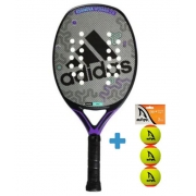 Raquete de Beach Tennis Adidas Essnova Woman - Cinza/Roxa + Brinde 3 Bolas