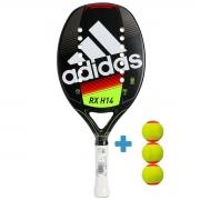 Raquete de Beach Tennis Adidas RX H14 Preta e Amarela + 3 Bolas