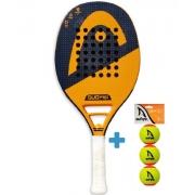 Raquete de Beach Tennis Head Duo Pro Preto e Laranja + Brinde 3 bolas