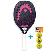 Raquete de Beach Tennis Head Icon Preto e Rosa + Brinde 3 Bolas