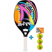 Raquete de Beach Tennis Shark Pro One 2021 + Brinde 3 Bolas