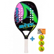 Raquete de Beach Tennis Shark Ultra 2021 + Brinde 3 Bolas