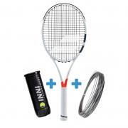 Raquete de Tênis Babolat Pure Strike 100 + Bola e Corda