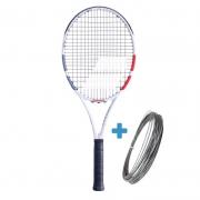Raquete de Tênis Babolat Strike EVO - Branco/Vermelho + Brinde Corda