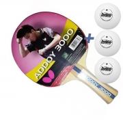 Raquete de tenis de Mesa Butterfly Addoy 3000 Ano 2019  - Chiang Hung (Chieh) + Brinde 3 Bolinhas- Rosa