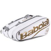 Raqueteira Babolat Pure Wimbledon x12 - Branco e Dourado
