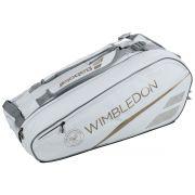 Raqueteira Babolat Pure Wimbledon  X6 - Branco e Dourado