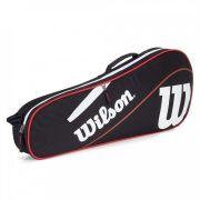 Raqueteira Wilson Advantage x 3 Triple Bag  - Preta e Vermelho