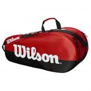 Raqueteira Wilson Esp Team 2 Comp x6 Dupla Vermelho e Preto