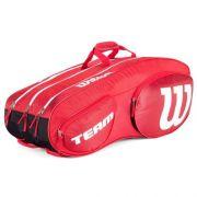 Raqueteira Wilson Team III 12 Pack Vermelha/Branca