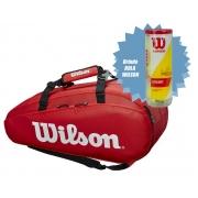 Raqueteira Wilson Tour 2 Comp  X9 - Vermelha + Brinde