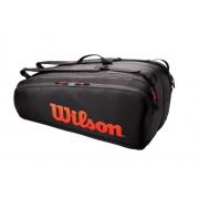 Raqueteira Wilson Tour x12 Pack - Preto/Vermelho