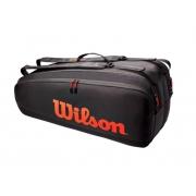 Raqueteira Wilson Tour x6 Pack - Preto/Vermelho