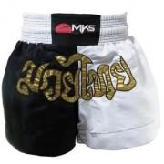 Short de Muay Thai MKS - Preto/Branco