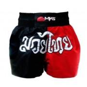 Short de Muay Thai MKS - Preto/Vermelho