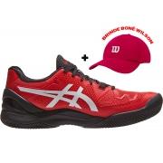 Tenis Asics Gel Resolution 8 Clay Eletric Red/White - Saibro + Brinde Boné Wilson