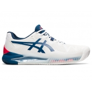 Tênis Asics Gel Resolution 8 Clay Masculino White/ Mako Blue - Saibro