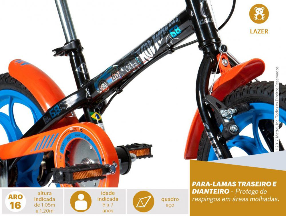 Bicicleta Caloi Infantil Hot wheels Aro 16 - REAL ESPORTE