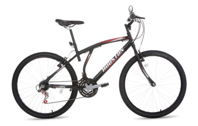 Bicicleta Houston Atlantis Mad Aro 26 - Preta Fosco + Brinde Cadeado  - REAL ESPORTE