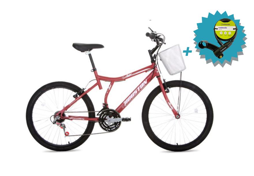 Bicicleta Houston Bristol Peak Aro 24 - Vermelha Fosca + Brinde Cadeado  - REAL ESPORTE
