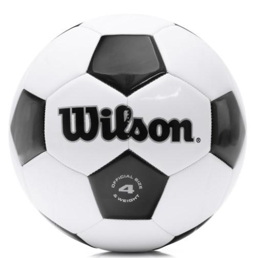 Bola de Futebol de Campo Wilson Tradicional 4 - Preto/Branco  - REAL ESPORTE