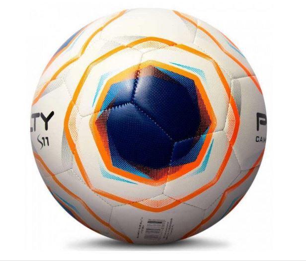 Bola de Futebol de  Campo Penalty S11 - Branca/Laranja  - REAL ESPORTE