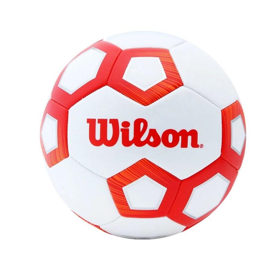Bola de Futebol de Campo Wilson Pentagon Vermelho e Branco  - REAL ESPORTE