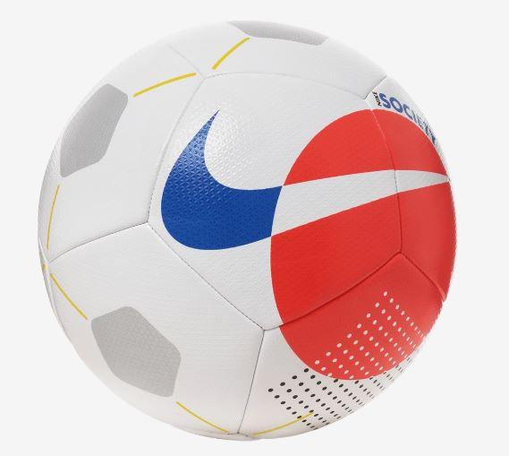 Bola de Futebol Nike Society  - Branco e Vermelho  - REAL ESPORTE