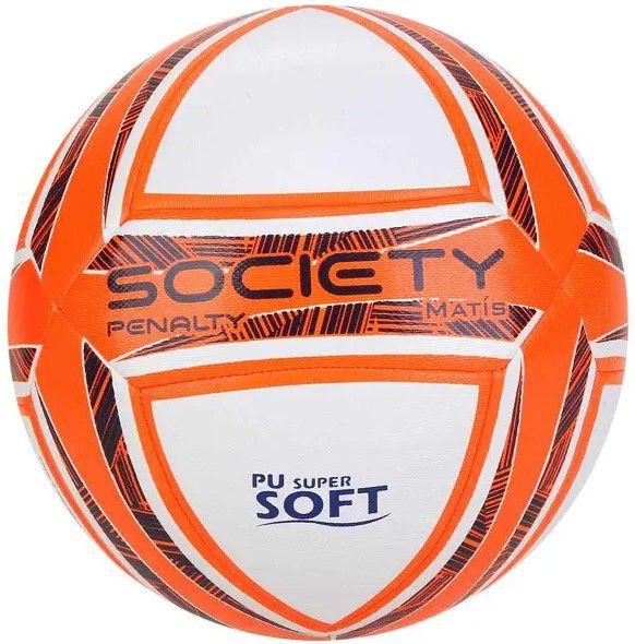 Bola de Futebol Penalty Matís DT X Society - Branca/ Laranja  - REAL ESPORTE
