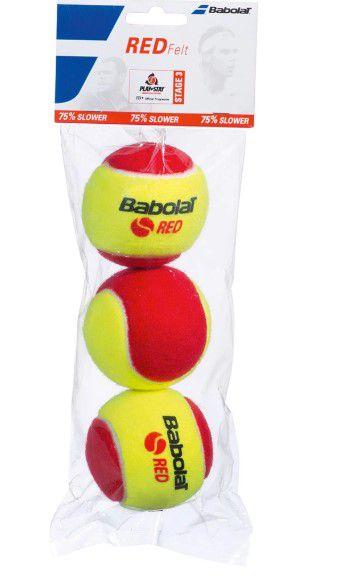 Bola de Tênis Babolat Infantil Red Felt x 3 Vermelha  - REAL ESPORTE